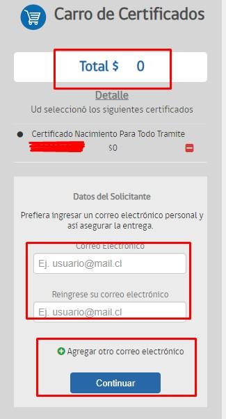 Carro de certificado